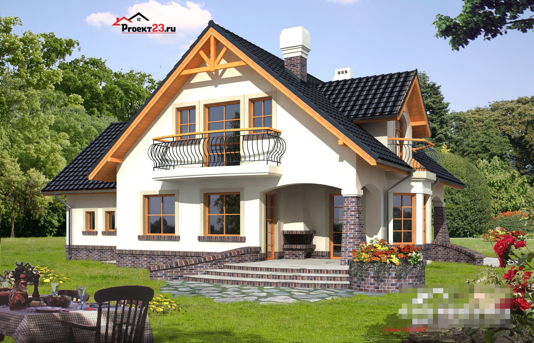 проекты небольших домов с балконом фото формируют среду
